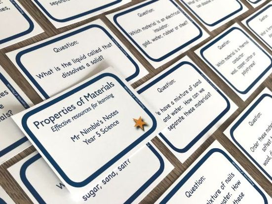 Year 5 Quiz Cards - Properties of Materials