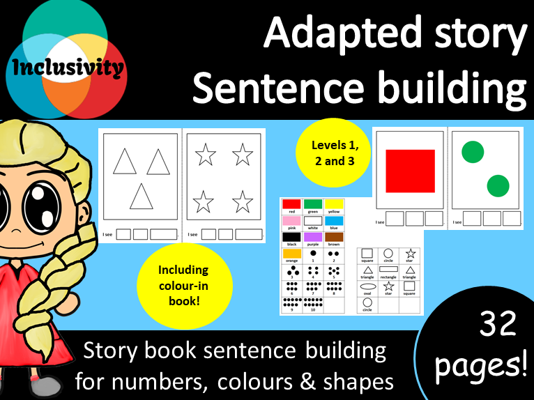 Adapted storybook counting numbers, colours & shapes; Levels 1, 2 and 3 including colour-in book