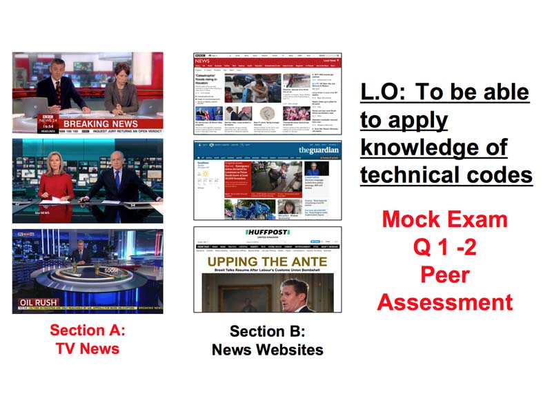 TV News analysis - Mock Exam Q1 - 2  Peer Assessment - WJEC GCSE Media 2018
