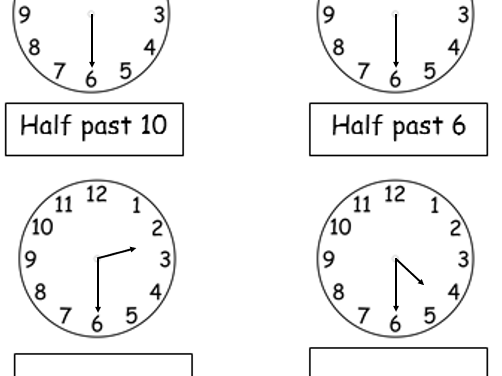 Year 1 O'clock and Half Past - 14 Worksheets