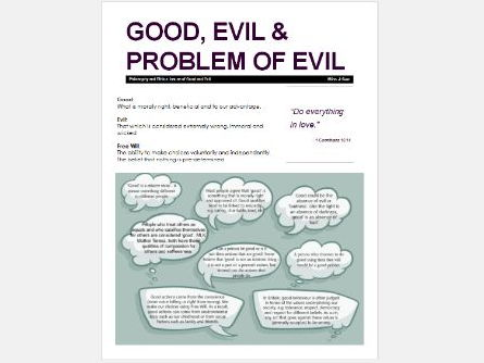 WJEC Eduqas: Issues of Good and Evil: Good, Evil and the Problem of Evil and Suffering Exam Booklet