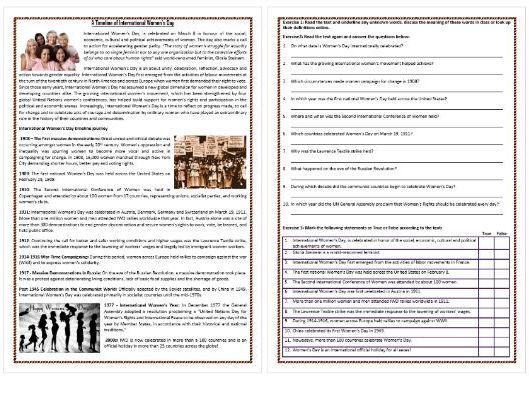 A Timeline of International Women's Day - Reading Comprehension Worksheet (ESL, ELL, ELT)