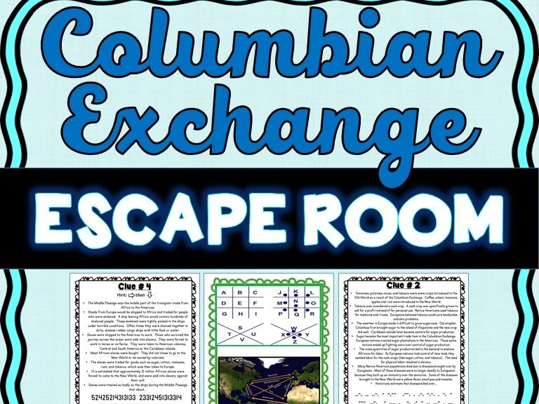 Columbian Exchange ESCAPE ROOM: Triangular Trade, Columbus, Slave Trade