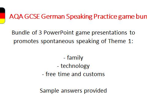 GCSE  German Speaking Game Bundle - Theme 1