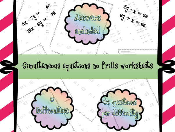 Simultaneous equations differentiated worksheets (over 200 questions)