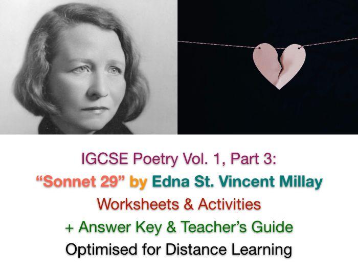 """IGCSE Poetry: """"Sonnet 29 - Edna St. Vincent Millay - Teach + Revise"""