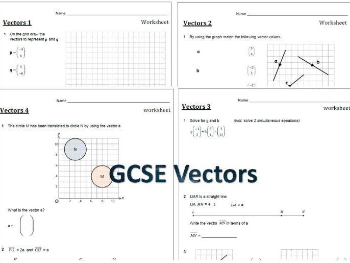 Vectors - set of 4 worksheets