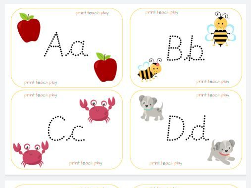 Alphabet Flash Cards - Unjoined Cursive Tracing Dots