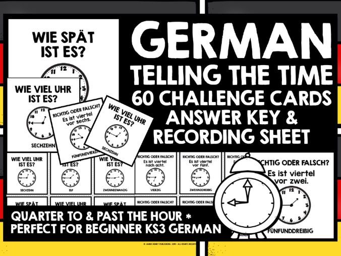 GERMAN TELLING TIME CHALLENGE CARDS QUARTER TO & PAST