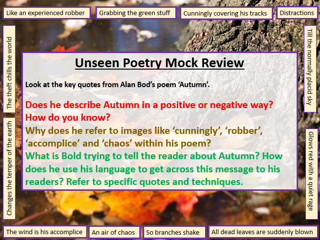 Unseen Poetry - Mock Exam Review