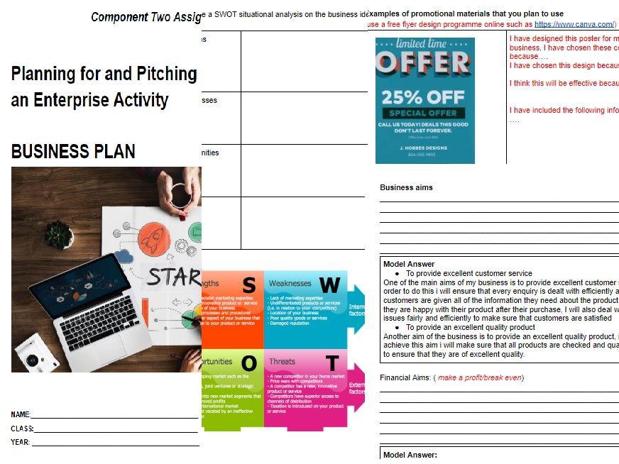 component 2 business plan template planning an enterprise