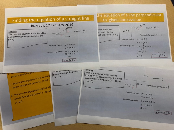 Finding the equation of a straight line revision.
