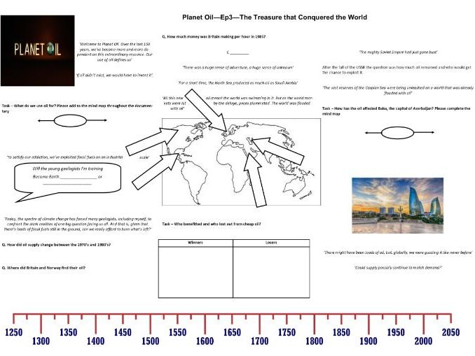 BBC - Planet Oil - Ep3 - The Treasure that Conquered the World - Worksheet to support the BBC Doc