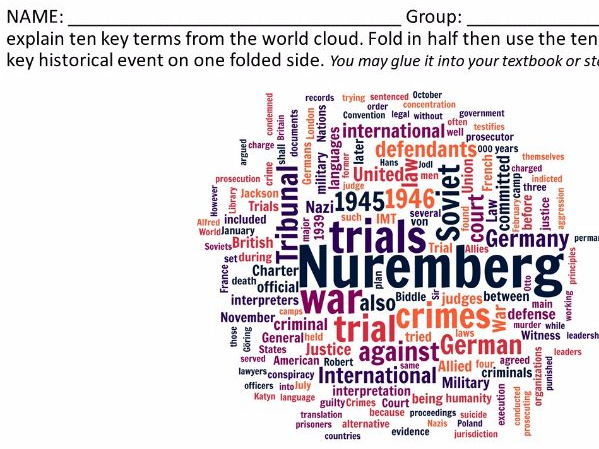 Nuremberg Trials - Word Cloud Activities (Fall of Nazis)