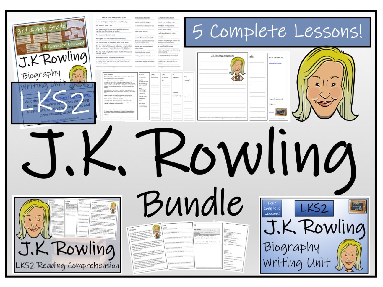 LKS2 Literacy - J.K. Rowling Reading Comprehension & Biography Bundle