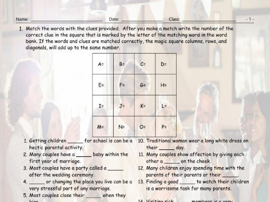 Dating-Marriage-Milestones Magic Square Worksheet