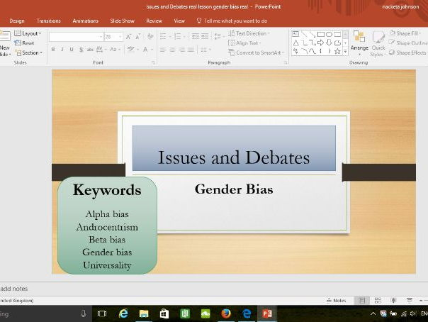 New specification Issues and Debates : Gender Bias