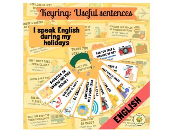 I speak English during my holidays: keyring. Llavero/tarjetas: 35 frases útiles en inglés. Turismo