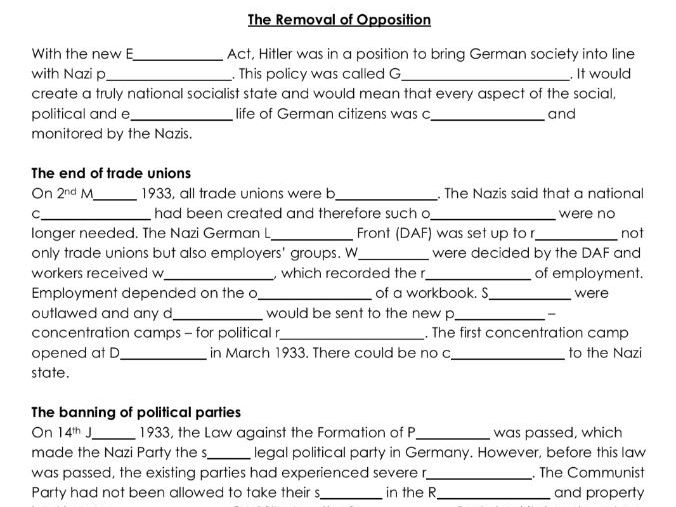 Nazi Removal of the Opposition and Threats 1933 Word Gap