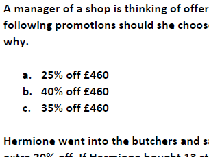 Percentage off amounts/quantities (including answers)
