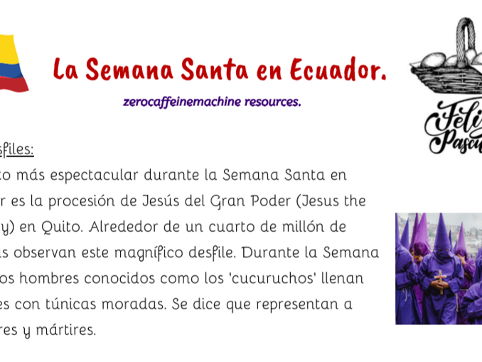 La Semana Santa en Ecuador - Easter Spanish reading comprehension