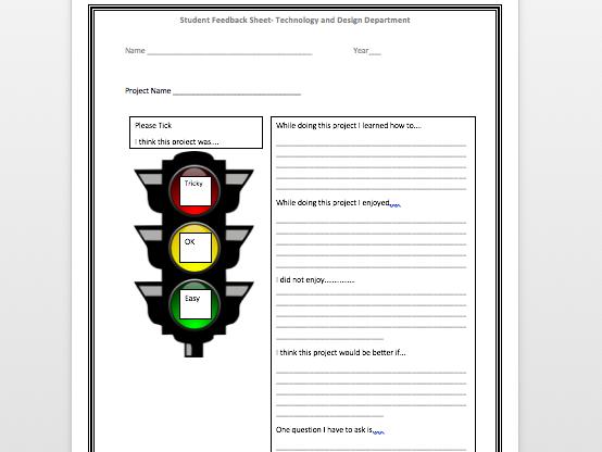 Pupil feedback sheet