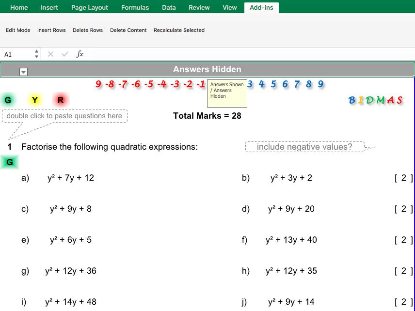 Factorising Quadratic Expressions Differentiated Worksheet
