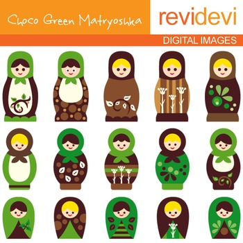 Clipart Russian Nesting Dolls - Choco Green Matryoshka