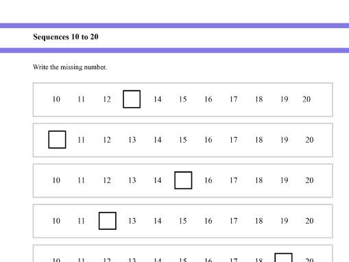 Sequences up to 20 for Year 1 and Year 2 students