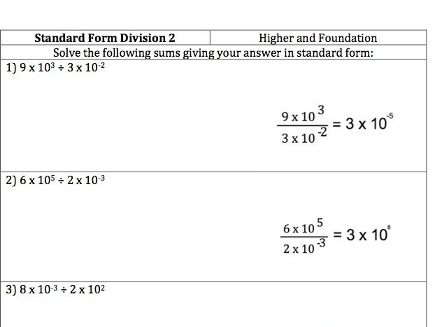 GCSE Maths - Standard Form Division - 30 Questions and Worked Answers