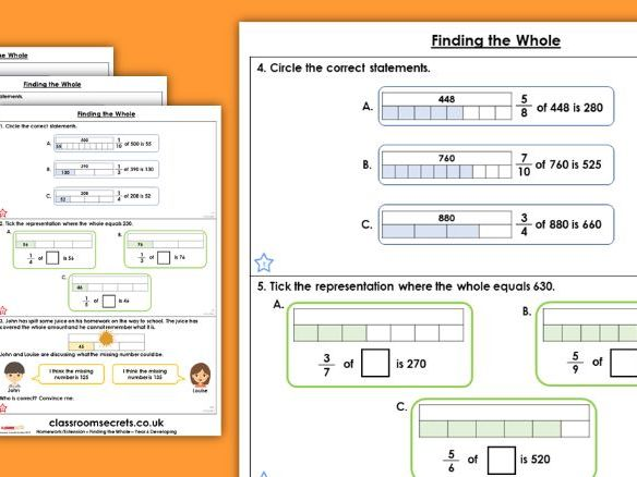 Year 6 Finding the Whole Autumn Block 3 Maths Homework Extension