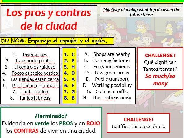COMPLETE VIVA GCSE FOUNDATION module 5 unit 4 - LOS PROS Y CONTRAS DE LA CIUDAD pptx