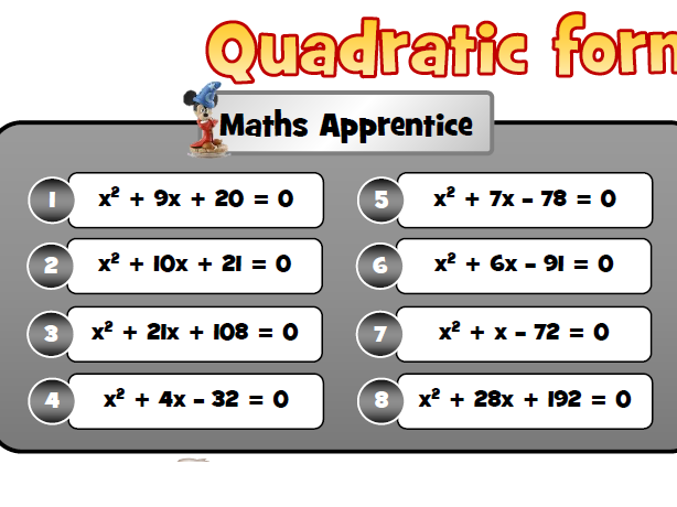 Quadratic formula - tiered questions with answer boxes