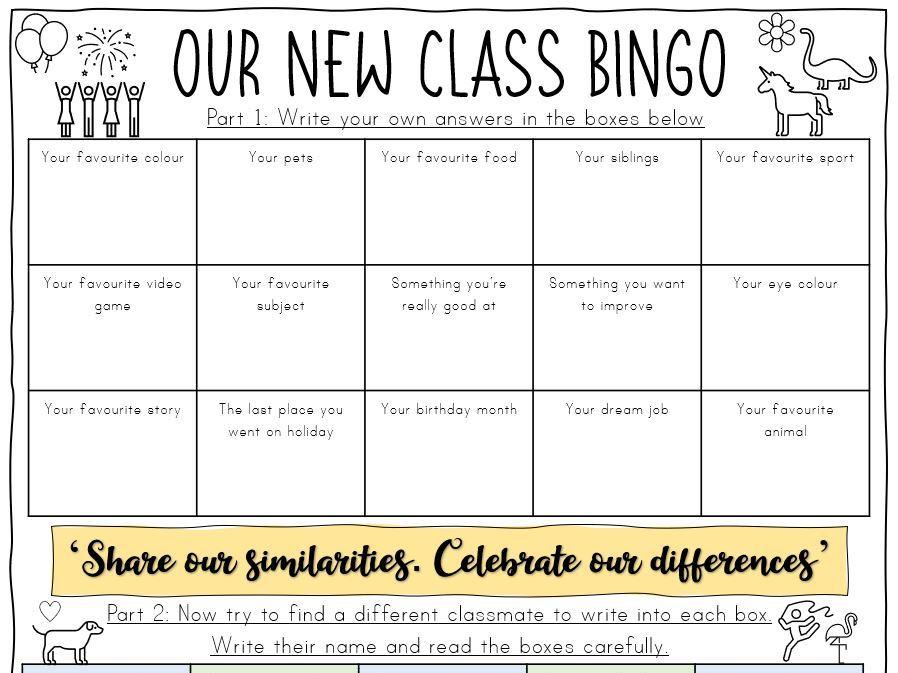 New Class Bingo - Focus on making positive relationships