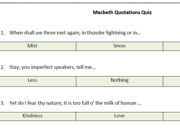 Macbeth Quote Quiz