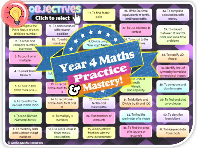 "Year 4 KS2 Maths ""Practice to Mastery"" Review Tasks Pack"