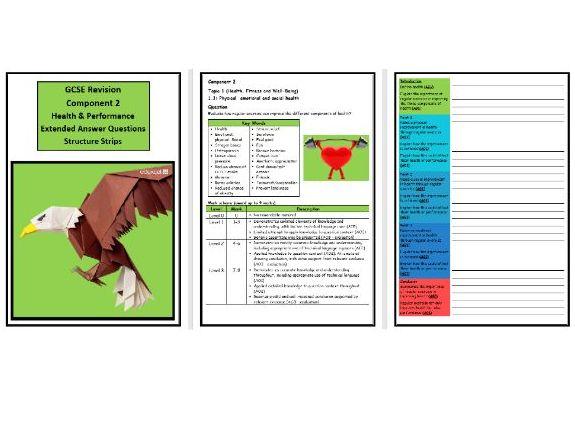 GCSE PE - Edexcel (9-1) - Complete Component 2 - 30 X Structure Strips (Extended Questions)