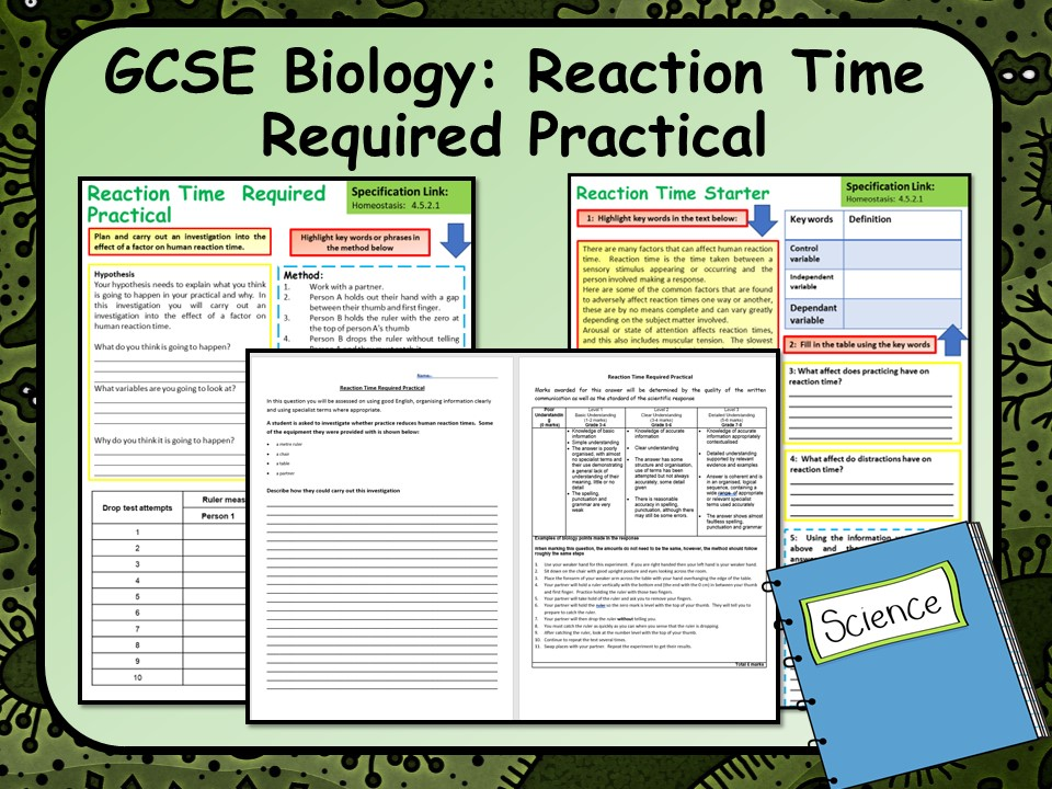AQA GCSE Biology (Science) Reaction Time Required Practical Lesson by chalky1234567 - Teaching Resources - Tes