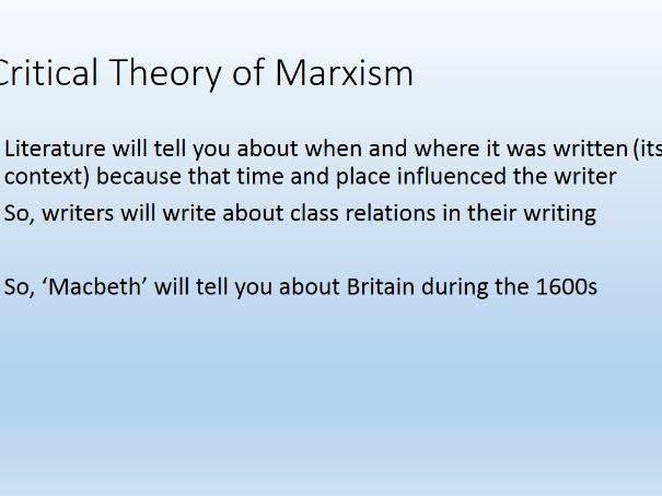 Macbeth Context and Marxism