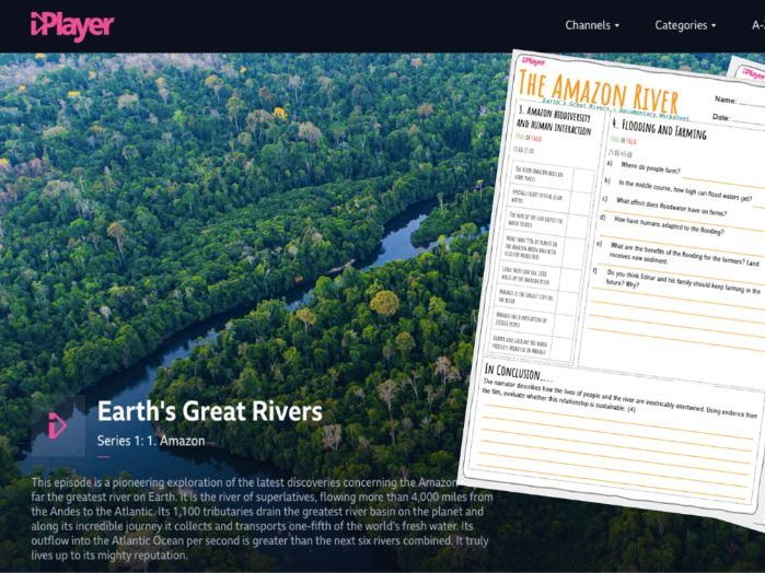 Amazon River Worksheet- Earth's Great Rivers Documentary  - Homework | Cover Lesson | Remote Task