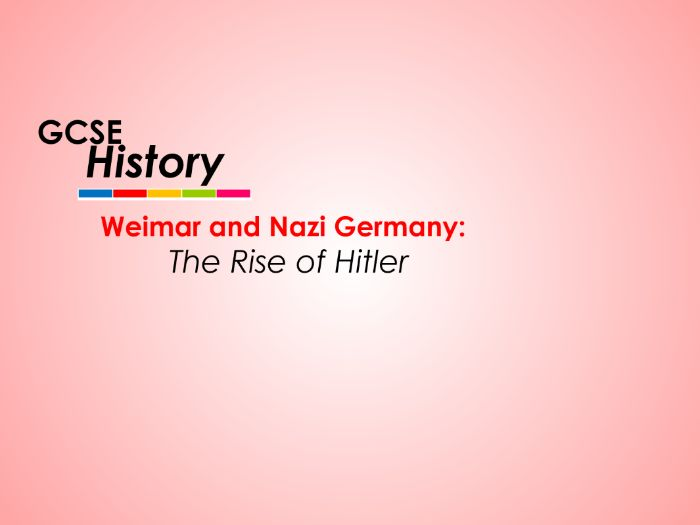 Nazi Germany - GCSE History - The Rise of Hitler (11 lessons)