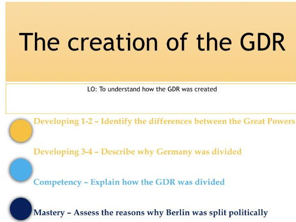 2. German Democratic Republic (GDR) - Lesson 2 - Creation of East Germany - Edexcel