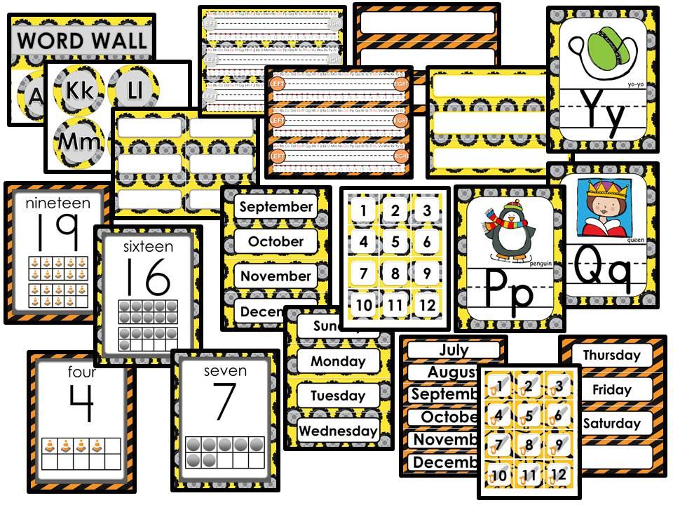 Classroom Decor - Editable - Construction Theme