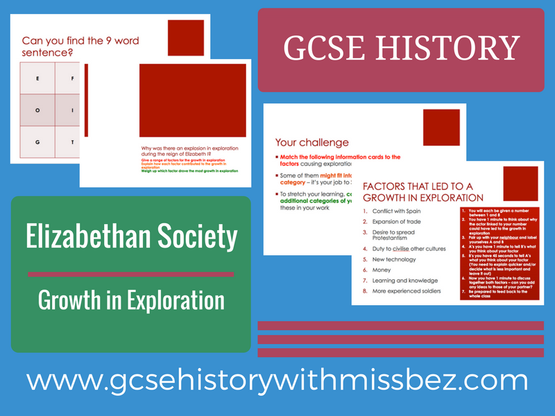 GCSE HISTORY: Elizabeth I: Growth in Exploration (all exam boards)
