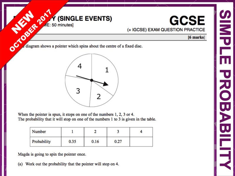 GCSE 9-1 Exam Question Practice (Probability, Single Events)