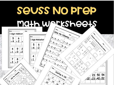 Seuss Math Worksheets No Prep