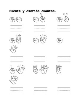 Counting fingers worksheets in Spanish