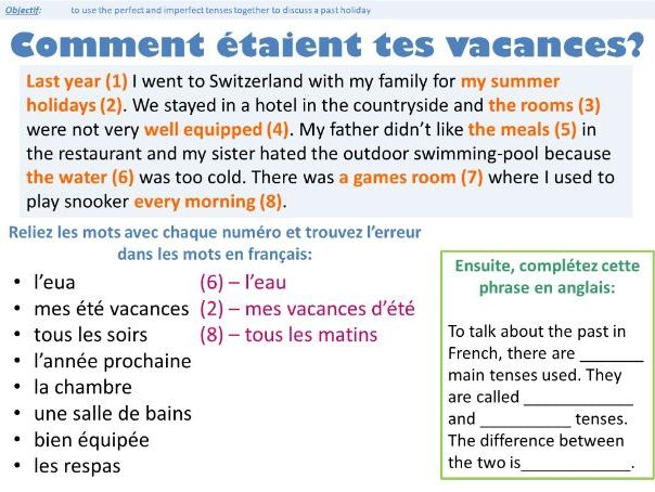GCSE HIGHER LESSON PERFECT VS IMPERFECT (holiday topic - revision of the grammar rules)
