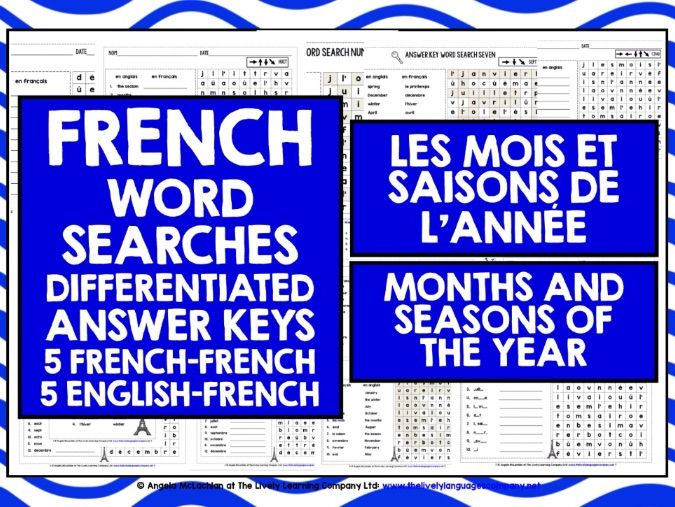 PRIMARY FRENCH MONTHS & SEASONS WORD SEARCHES