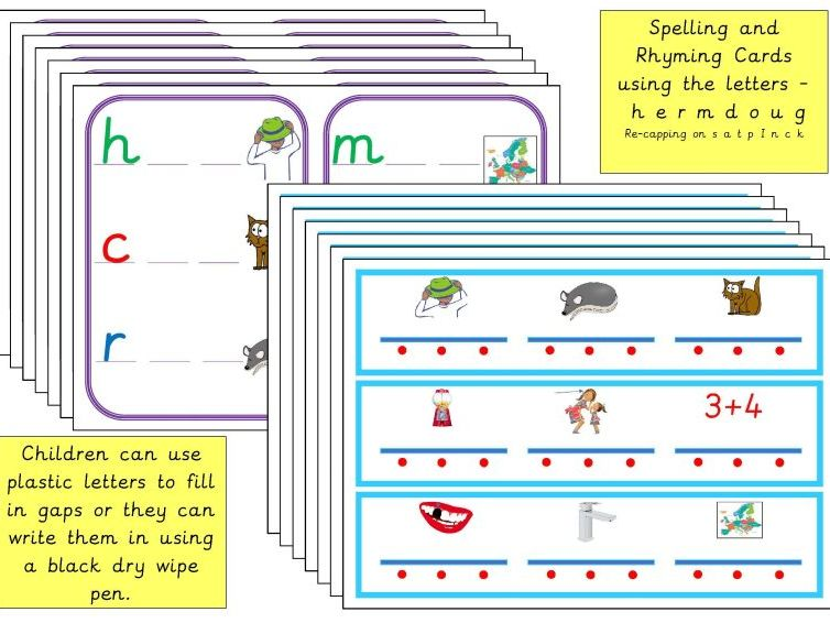 Spelling and Rhyming CVC Cards